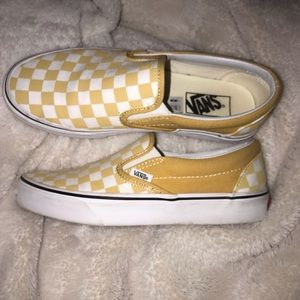 Yellow & White checkered vans worn twice! Size 8